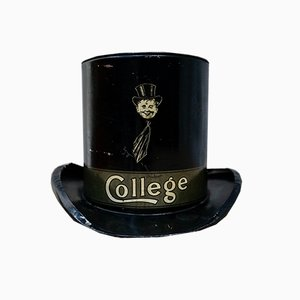 Antique College Tinplate Top Hat Money Box