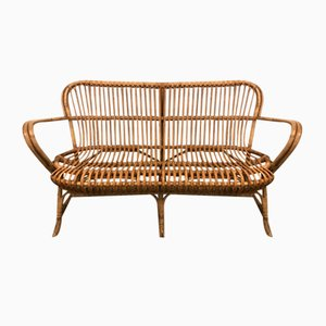 Danish Rattan Garden Sofa or Bench, 1940s