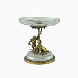 Cuenco Adán y Eva de cristal y bronce, principios del siglo XX