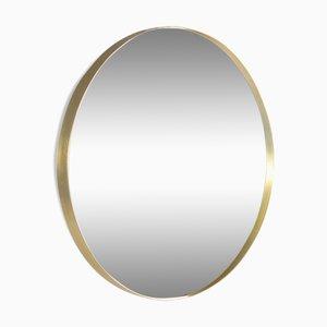 Specchio rotondo vintage in ottone
