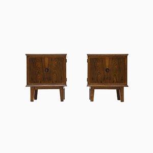 Wooden Bedside Tables, 1950s, Set of 2