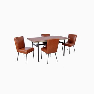 Italian Table and Office Chairs from Trau, 1960s, Set of 5