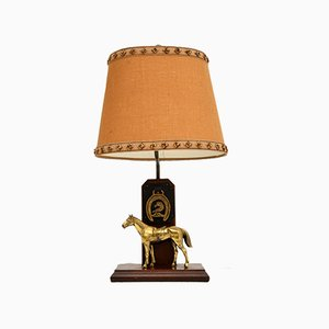 Antique Brass & Oak Horse Lamp