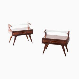 Restored Italian Mahogany Bedside Tables with Glass Tops, 1950s, Set of 2