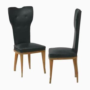Wood & Vinyl Chairs, 1950s, Set of 2