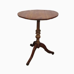 Cherry Wood Pedestal Side Table