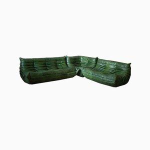 Set da salotto Togo in pelle verde di Michel Ducaroy per Ligne Roset, anni '70, set di 3
