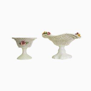 Cuenco de centro de mesa de cerámica, años 60. Juego de 2