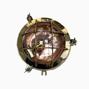 Vintage Round Brass & Copper Bulkhead Wall Light from Industria Rotterdam