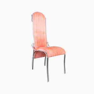 Rote Vintage Alcantara Metall Stühle, 1970er, 4er Set