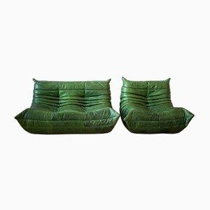 Sofás Togo de cuero verde de Michel Ducaroy para Ligne Roset, años 70. Juego de 2