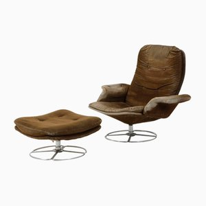 Wooden & Chrome Armchair with Footstool, 1960s, Set of 2