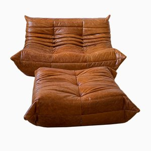 Pine Leather Togo Armchair and Pouf Set by Michel Ducaroy for Ligne Roset, 1970s, Set of 2