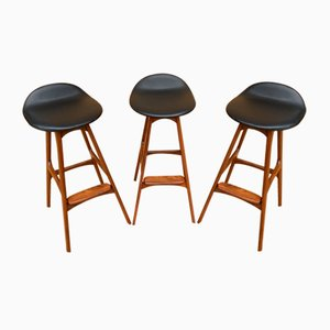 Tabourets de Bar par Erik Buch pour Oddense Maskinsnedkeri / od Møbler, Set de 3