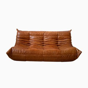 Vintage Pine Leather 3-Seater Togo Sofa by Michel Ducaroy for Ligne Roset