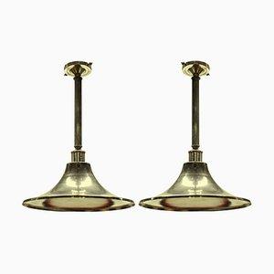 Versilberte englische Mid-Century Deckenlampen, 2er Set