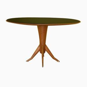 Französischer Esstisch mit Farbigem Glas, 1950er
