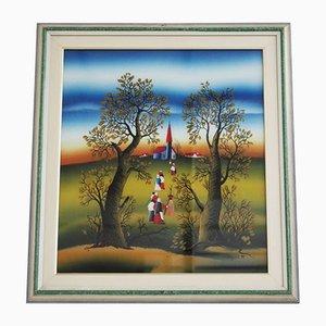 Öl auf Leinwand Gemälde von Mugosa Naif, 1991, 3er Set