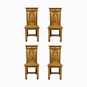 Englische Gothic Eichenholz Stühle, 4er Set