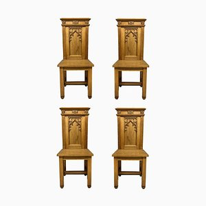 English Oak Gothic Hall Chairs, Set of 4
