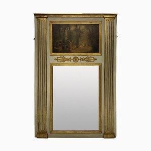 Französischer Lackierter und Vergoldeter Trumeau Spiegel