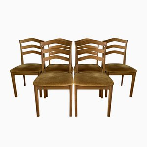Vintage Esszimmerstühle mit Senfgelbem Bezug von Nathan, 6er Set