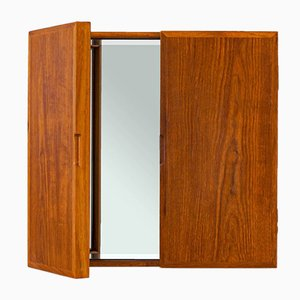 Danish Teak Tri-Fold Wall Mirror