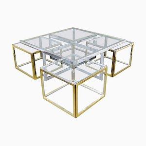 Mesa de centro vintage grande de vidrio y metal