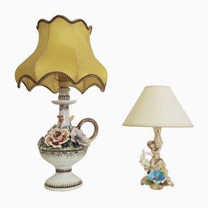 Lámparas de mesa florales de Abat Jour, años 50. Juego de 2