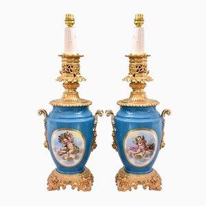 De Sèvres Style Bronze & Porcelain Lamps, Set of 2