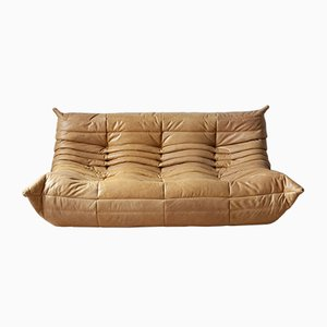 Camel Brown Leather 3-Seat Togo Sofa by Michel Ducaroy for Ligne Roset, 1990s