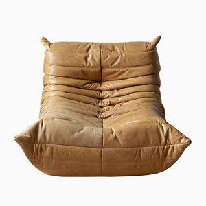 Camel Brown Leather Togo Sofa by Michel Ducaroy for Ligne Roset, 1973