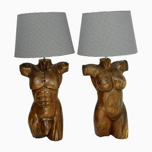 Lámparas torso esculturales de madera maciza, años 70. Juego de 2