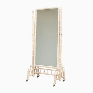 Large Faux Bamboo Cheval Mirror