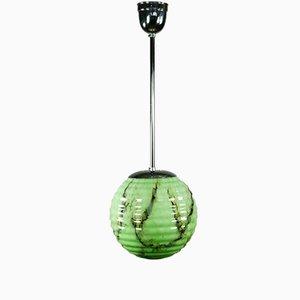 Vintage Art Deco Pistachio Glass Pendant Lamp, 1930s