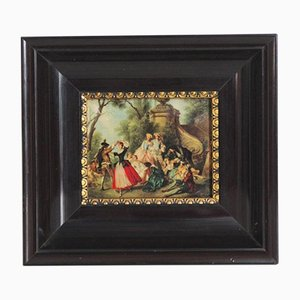 Small Antique Print in Wooden Frame, 1970s