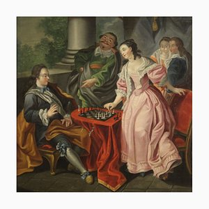 Couple Playing Chess, Painting, 18th Century