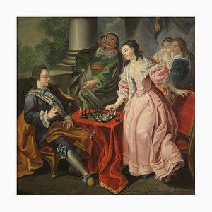Pareja jugando al ajedrez, pintura, siglo XVIII