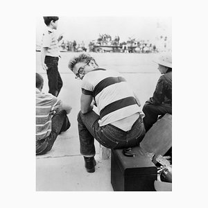 James Dean at a Car Rally Archival Pigment Print Framed in White by Frank Worth