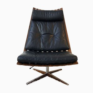 Scandia Brazilian Rosewood Swivel Chair by Hans Brattrud, 1960s