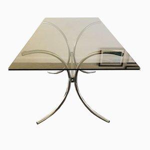 Tavolo da pranzo Bauhaus Mid-Century in vetro fumé e placcato in cromo, anni '70
