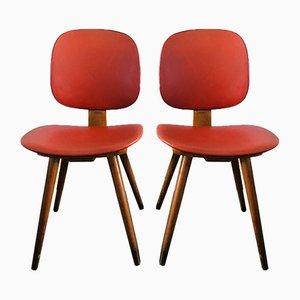 Sedie da pranzo vintage in vinile rosso con gambe in dansette, anni '60, set di 2