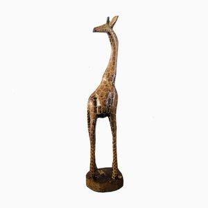 Große Vintage Giraffe aus Holz