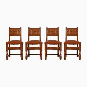 Französische Esszimmerstühle von Charles Dudouyt, 4er Set
