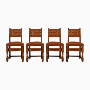 French Dining Chairs in Manner of Charles Dudouyt, Set of 4