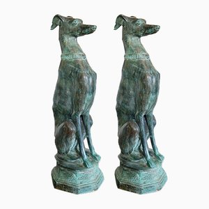 Large Bronze Sitting Greyhound Dogs Statue, 1970s, Set of 2