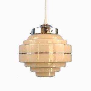 Lámpara colgante Art Déco de vidrio escalonado, años 20