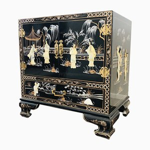 Small Vintage Black Lacquered Cabinet, 1960s