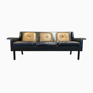 Scandinavian Black Leather Sofa, 1950