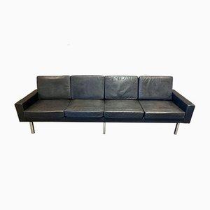 Sofá de cuero negro, años 50